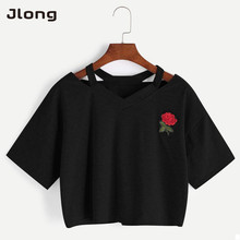 2017 Women Short T Shirt Rose Embroidery T-shirts Summer Sexy Hollow Out Short Sleeve Casual Crop Top Female Fashion New(China)