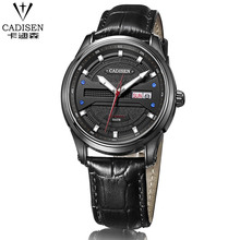 cadisen Men Watch Luxury Brand Famous Leather Black mechanical Men Wrist Watch Russian Military Curren Watches Men Montre Homme(China)
