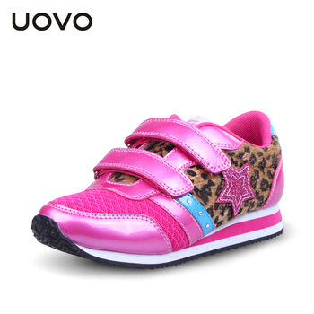 UOVO  Newest spring and autumn Leopard pink children girls shoes big kids fashion shoes brand girls sneakers high quality