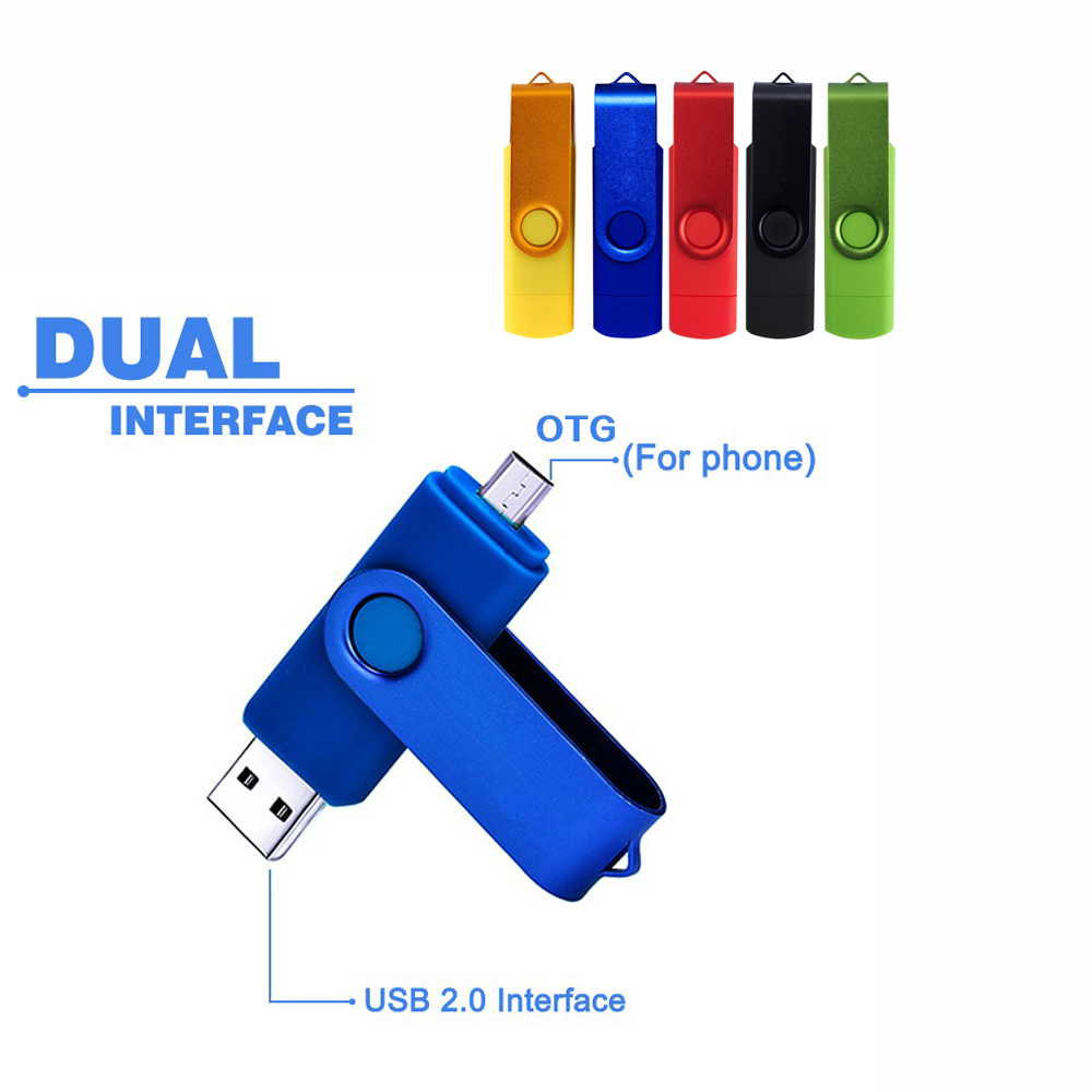 NEW Metal Rotatable OTG USB Flash Drive Pen Drive 4gb 8gb 16gb 32gb 64gb 128gb Pendrive USB Stick for smart phone/PC(China (Mainland))