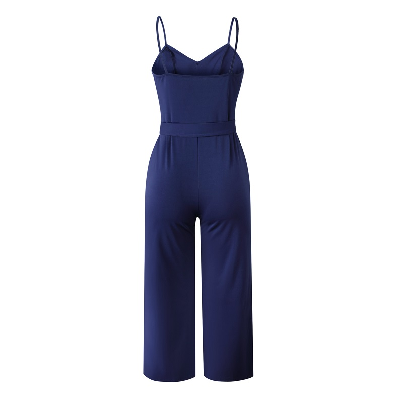 101046 2019 Summer Women Solid Skinny Sexy Jumpsuit Casual Bandage Streewear Spaghetti Strap V-neck Playsuit Overalls for Women Party 7