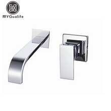 Free Shipping Single Handle Wall Mounted Waterfall Basin Sink Faucet Chrome Finished Bathroom Mixer Tap
