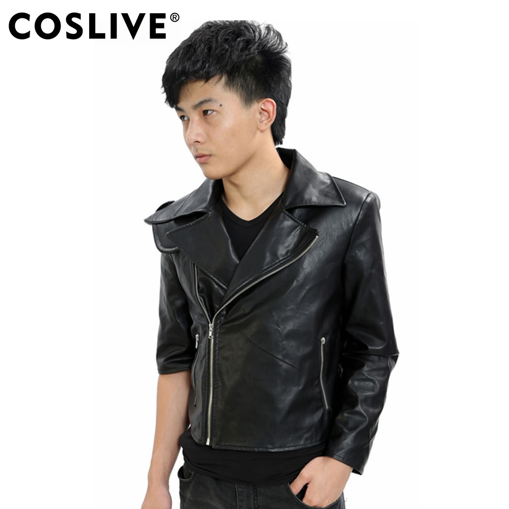 Coslive Mad Max Costume Mad Max 4 Fury Road Cosplay Max Rockatansky Jacket Short Black PU Leather Motorcycle Jacket For Men