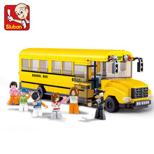 Fashion SLUBAN Big School Bus Building Blocks Learning And Education DIY Bricks Enlighten Toys Child compatiable with lego gift
