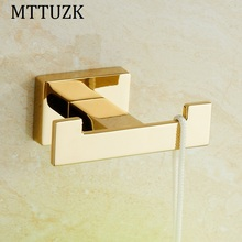 MTTUZK golden/chrome Square Clothes hooks Kitchen hooks living room wall hanging door rear hook for cap,coat,Clothes,bath towel(China)