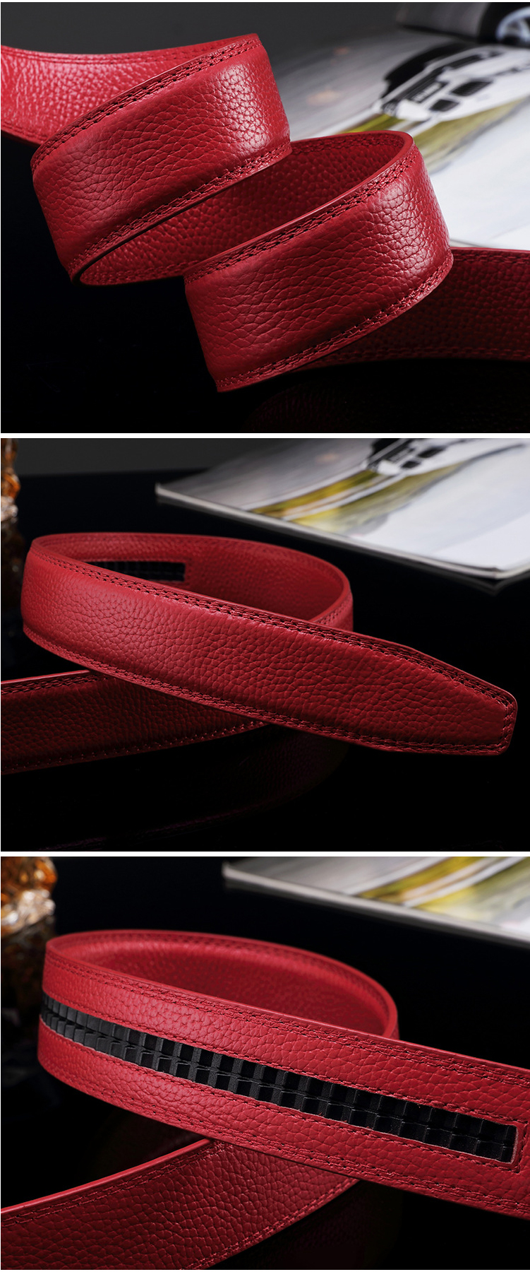 (5)Designer Weddin for Men Belts Genuine Leather Famous Brand Automatic Buckle Female Belt Red Strap Luxury Womens Belt Male