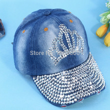 Rhinestone Bling Beads jean Denim Sun-shading Women's cotton visor Baseball Cap snapback hat(China)