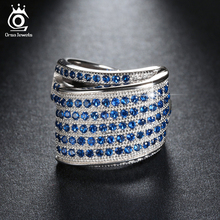 ORSA JEWELS Luxury Fashion Eco-Friendly Bridal Ring for Women Rings with Blue Micro Austrian Cubic Zirconia Wedding Jewelry OR91(China)