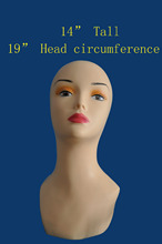 "14"" Tall-PVC plastic rubber mannequin manikin head for necklace/cap/wig display PDS(China)"