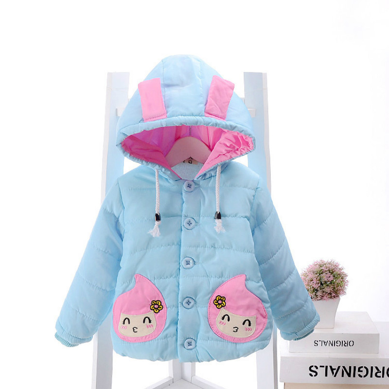 Baby Girl Toddler Winter Warm Down Jacket Coat Outwear Bunny Ears Cartoon Pink Sky Blue Princess Fashion Size for 2,3,4,5 YearsОдежда и ак�е��уары<br><br><br>Aliexpress