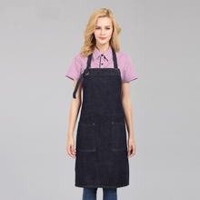 New denim apron cotton adult cafe shop men and women overalls restaurant kitchen cooking baking aprons black blue