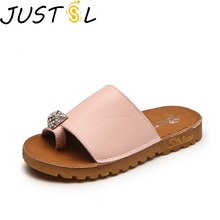 Buy JUSTSL 2018 summer new children soft bottom sandals kids flat non-slip shoes girl bright diamond beach slippers size 26-30 for $8.08 in AliExpress store
