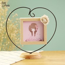 AsyPets Novel Opening Decorative Iron Heart-shape Wooden Picture Frame, Thickening Pine Square Table Photo Frame 30