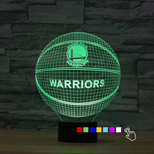 Fding NBA Golden State Warriors 3D Lamp 7 Color Changing WARRIORS 3D Night Light Basketball Led Bulb Touch Bedside Lamp for Fans(China)