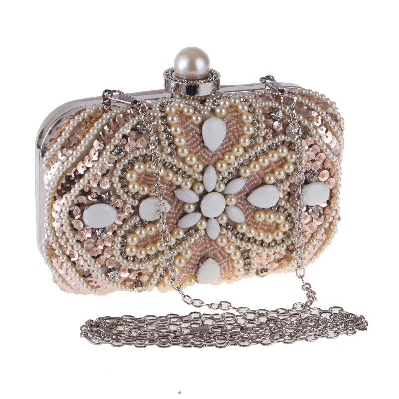 Pearl diamond-studded evening bag pochette soiree with a diamond bag womens rhinestone day clutch female wedding/party bags<br>