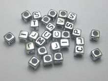 500 Assorted Silver Metallic Acrylic Alphabet Letter Cube Pony Beads 6X6mm(China)