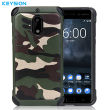 KEYSION Hot Case for Nokia 6 Army Camo Camouflage 2 in 1 Pattern PC+TPU Armor Anti-knock Protective Back Cover For Nokia6(China)