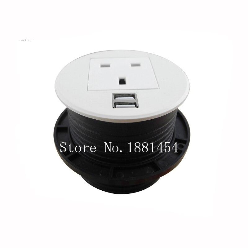 2017 AU/EU/UK/USA/Universal Power + USB Round Desk Mini Table Socket / round socket silver/black 10 pcs /set<br>