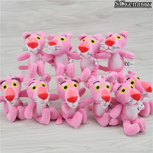 10pcs Pink Panther Plush dolls Soft Toys Pink Leopard Baby Toys 12cm Free Shipping(China)