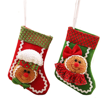 1pcs/lot Cartoon Christmas Stocking Gingerbread Man Series Christmas Tree Hanging Ornaments Gift Bags for Home Decor SD357