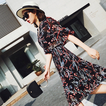 ISSDM Euramerican floral dress waist agaric Pleated Dress V collar five Sleeve Chiffon  20 female fashion