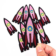 10Pcs Pink Rocket Embroidered Patch for Clothing Sew Applique Fabric Clothes Badge Garment DIY Apparel Accessories(China)