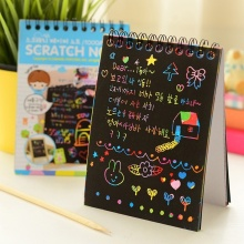 Fashion Wonderful Color Scratch Note Black Cardboard Creative DIY Draw Sketch Notes for Kids Toy Notebook School Supplies