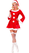 Sexy Christmas  Costumes For Women Long Sleeves  Red Color Lovely Girl's Dancing Dress Miss Santa Carnival Party Show Cosplay