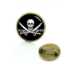 2017 Direct Selling Broche Pin Jolly Roger Skull And Machete Picture Brooches Novelty Interesting Badge Your Finish Choice T438(China)