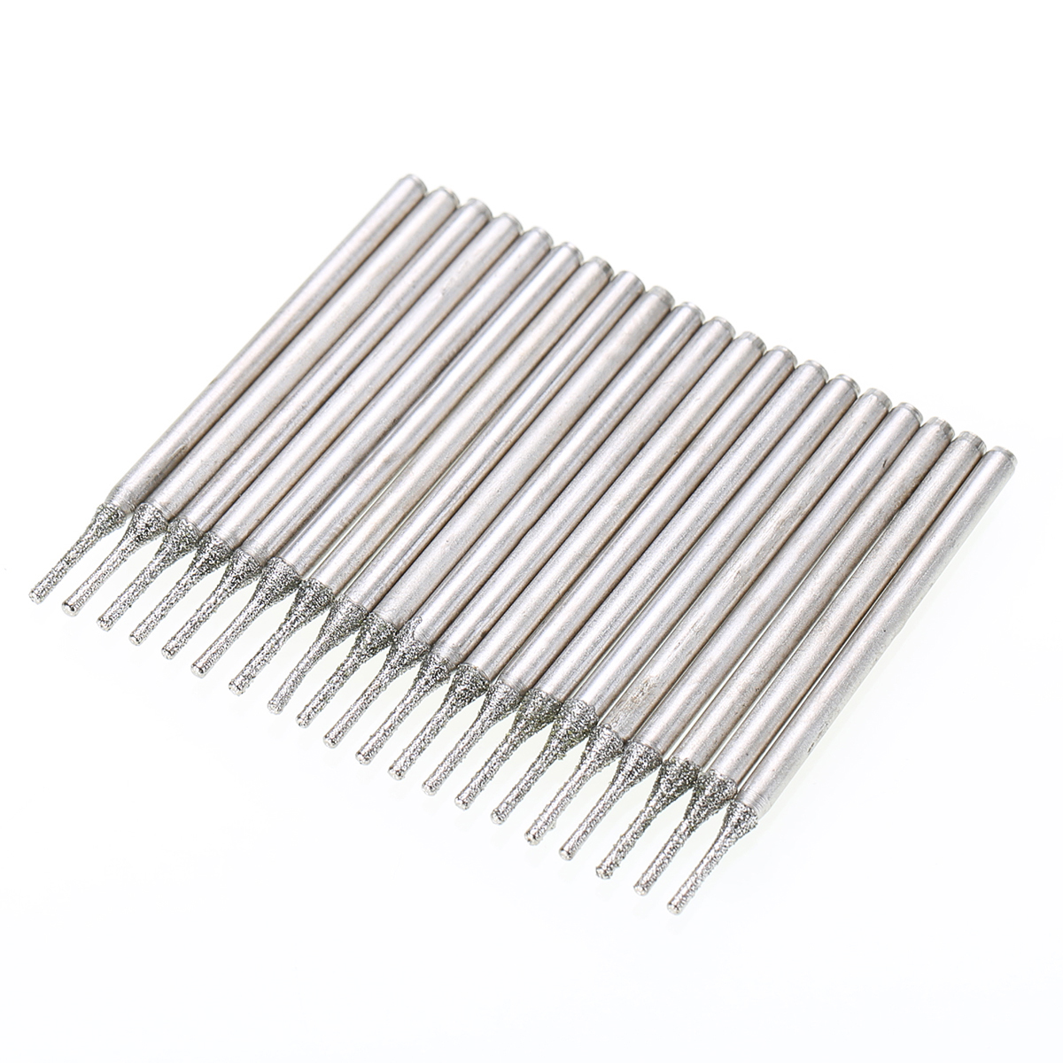 10x Lapidary Diamond Coated Solid Bits Gems Drilling Needle 1mm Silver