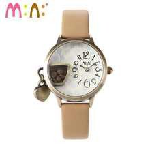 M:N: Handmade 3D POLYMER CLAY ladies Women's watches Korea Mini watch hollow desigh Dress quartz kids clock relogio feminino(China)