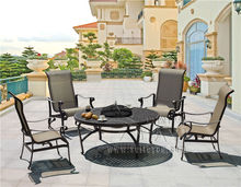 5-piece leisure Best-selling cast aluminum table and teslin chair Outdoor furniture,BBQ table transport by sea(China)