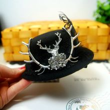 Fascinator Mini Top Hat with Deer Head Feather Handmade Goth Hair Clip Cocktail Party Wedding Hair Accessories