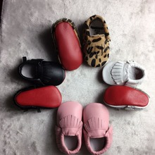 Retail New Genuine Leather Baby Moccasins Shoes Leopard red sole Baby Shoes girls boys Newborn first walker Infant Shoes(China)