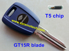 Blue 5pcs/lot Free Shipping Transponder Key Shell Blank GT15R Blade With T5 Chip Fit For Fiat Punto Stilo Seicento