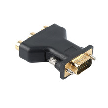 3 RCA RGB Video Adapter Female To HD 15-Pin VGA Component Video Jack Adapter Plug Connector