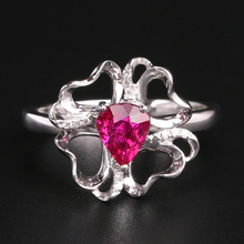 Robira Pear Ruby Flower Women Rings 18K Gold Heart Red Natural Ruby Gemstone Wholesale Finger Ring Jewelry Fashion Charm