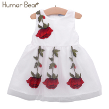 Humor Bear Baby Girl Dress Birthday Dress lace infant Roses Infantil Princess Wedding Dress Baby Girls Clothes Romper For Baby(China)