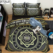 XYZLS Modern Simple Man Black Full Queen Bedding Set 3pcs Sanding Geometric Quality Boy Duvet Cover Set University Bedclothes(China)