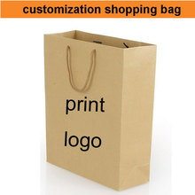 500pcs!50%-60% shipping cost,custom paper bag logo kraft bag,print your logo bag shopping thick bag,make design(China)