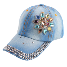 good qaulity new most popular women girl children 54 CM size spring summer floral baseball cap rhinestone fashion snapback hats