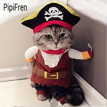 PipiFren Cat Clothes Cosplay Pirate Costume For Pet Dogs Clothes Cosplay Pirate Cartoon Cute Fashion Yorkshire vetement chien