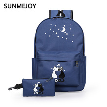 SUNMEJOY women canvas backpack fashion cute cat travelbags printing backpacks 2pcs/set Girls School Bookbags Teenagers Clutch - niuniubags Store store