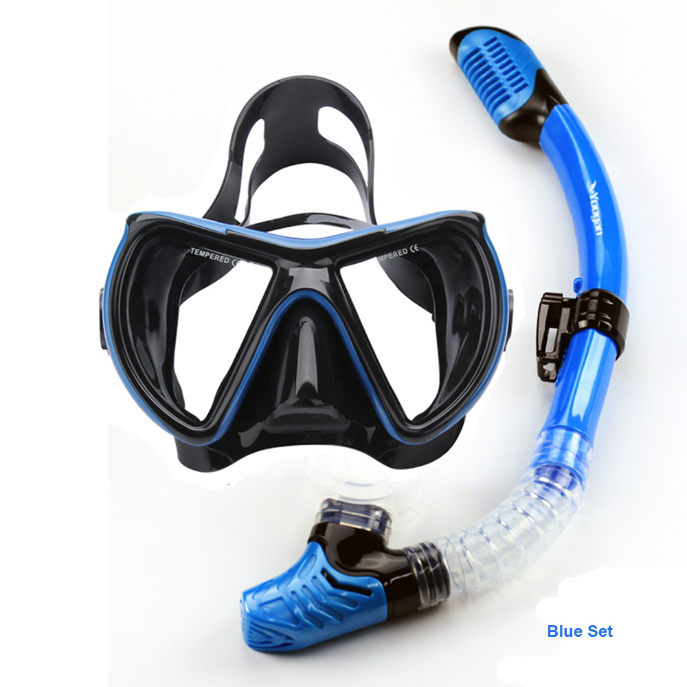 Wide adult diving mask and snorkel set Top snorkel gears and dive equipement black silicone diving mask tempered glass lens mask<br><br>Aliexpress