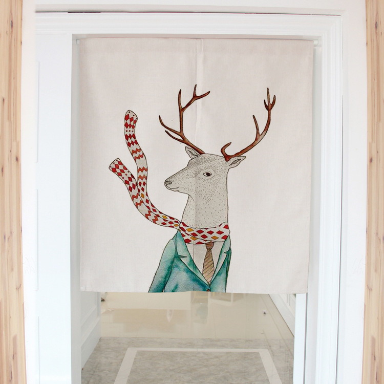 Nordic style Mr  sika Deer decorative door curtains fabric cloth home screens partition bathroom kitchen curtains<br><br>Aliexpress