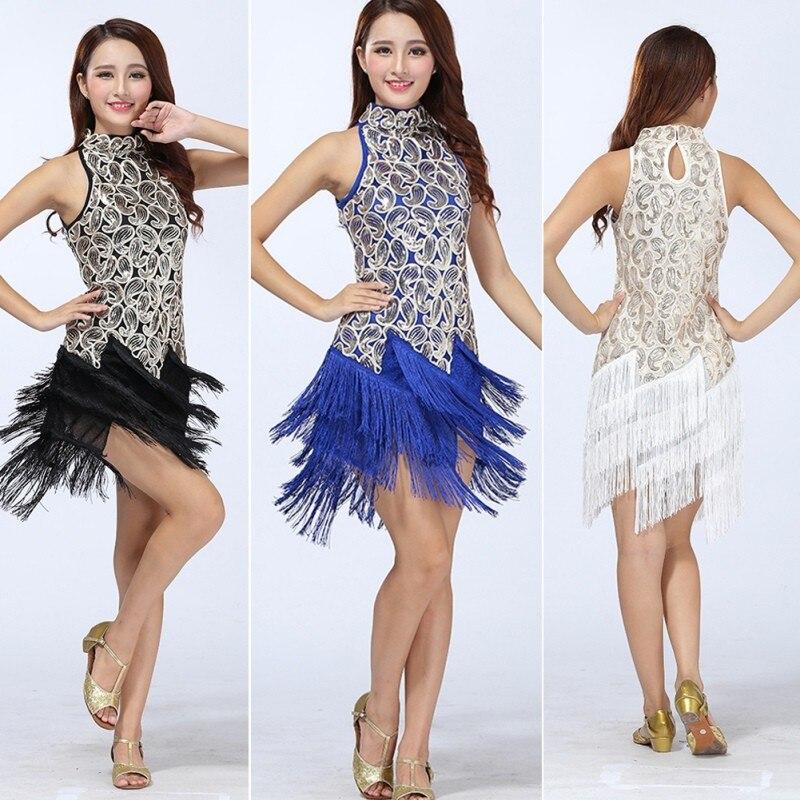 Women/'s Chacha Rumba Ballroom Sequin Tassel Latin Dance Dress Dancewear Costume