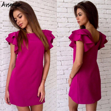 2017 Womens Summer Casual Style Butterfly Sleeve Dress Party Club Rose red Sky blue Dress Backless Beach Mini Dresses Avsmya