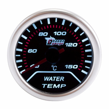 "Water Temp Car Gauge 2"" 52mm 40~150 Celsius Temperature Mechanical Meter Black Dial Face Silver Bezel 12V Auto"