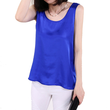 100% Pure Silk Women's Blouses Femme Classic Casual Blouse Women Loose OL Sleeveless Ladies Blusa Feminina Tank Tops For Woman