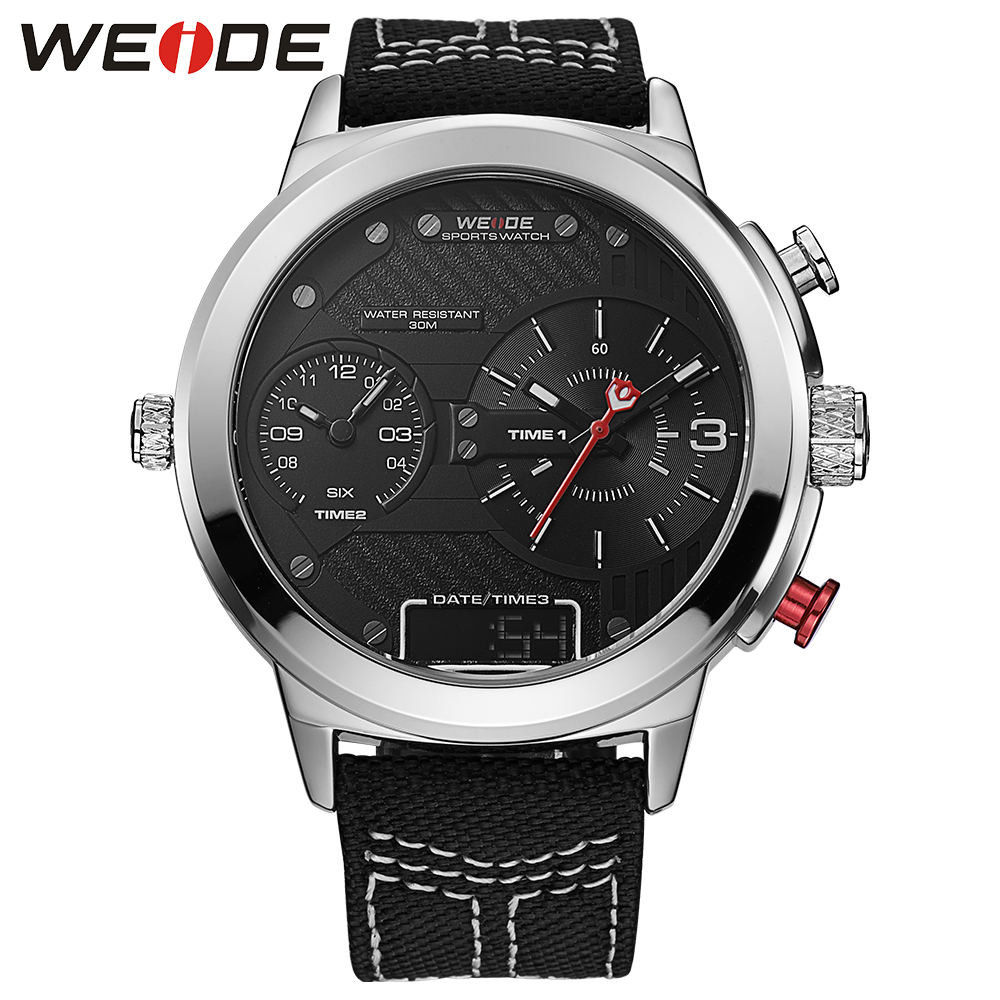 WEIDE  casual genuin nylon Double time zone round big dial watch quartz men sports watchwater resistant  clock LCD analog watch <br>